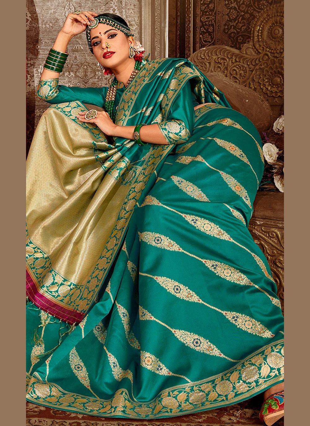 Teal Festival Designer Traditional Saree