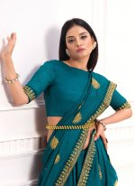 Teal Festival Traditional Saree