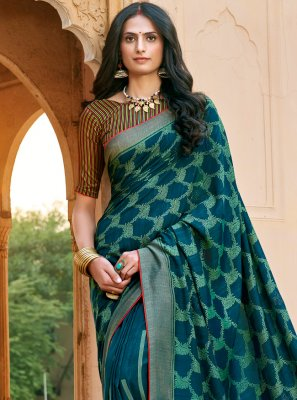 Teal Floral Print Chanderi Printed Saree