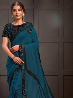 Teal Georgette Satin Designer Saree