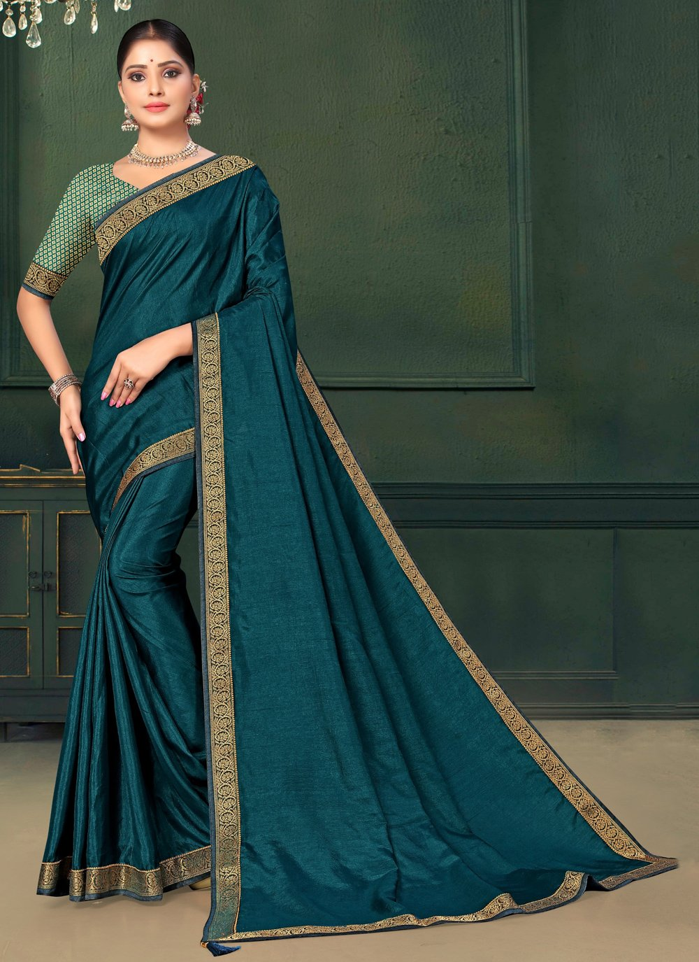 Teal Lace Art Silk Traditional Saree