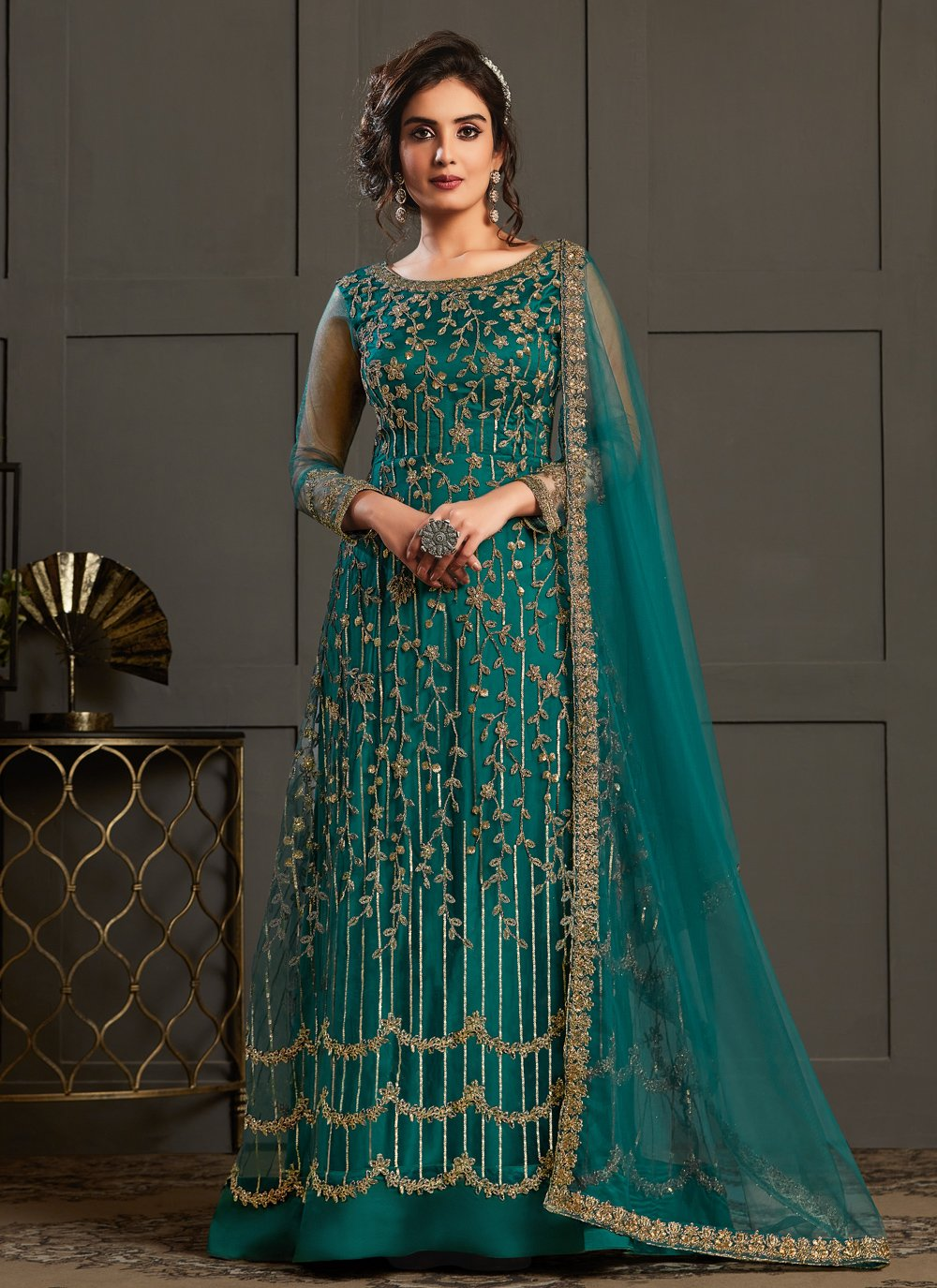 Teal Net Designer Floor Length Salwar Suit