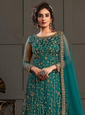 Teal Net Designer Floor Length Salwar Suit