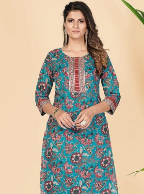 Teal Party Cotton Party Wear Kurti