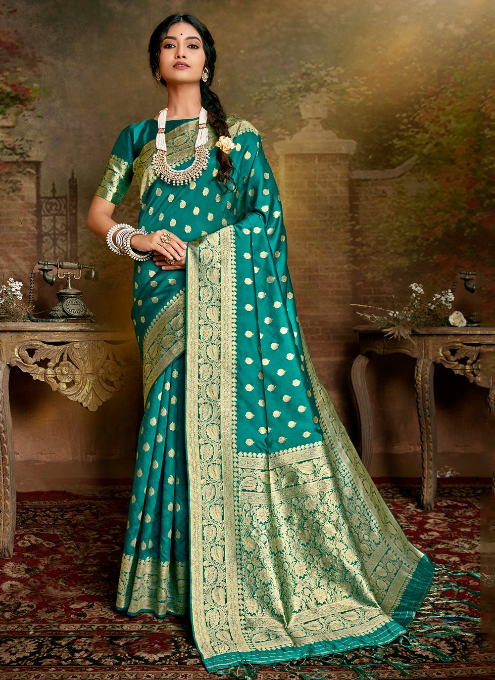 Teal Party Fancy Fabric Traditional Designer Saree