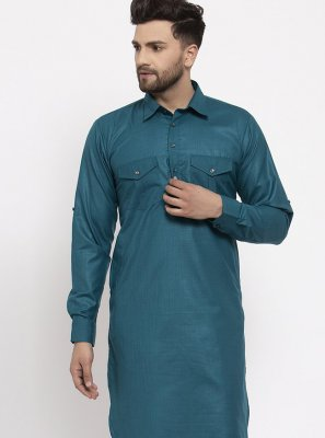 Teal Plain Blended Cotton Kurta Pyjama