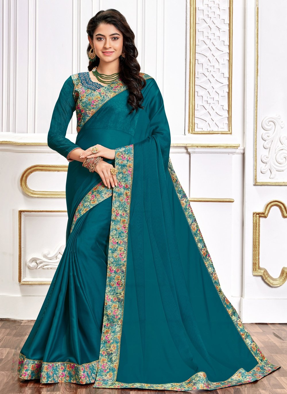 Teal Poly Silk Embroidered Designer Traditional Saree