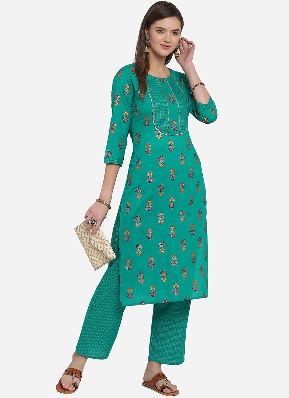 Teal Print Party Wear Kurti