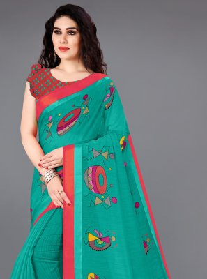 Teal Printed Casual Printed Saree