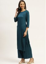 Teal Rayon Festival Readymade Suit