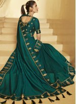 Teal Silk Designer Traditional Saree