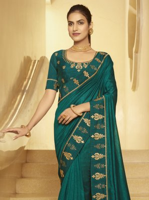 Teal Silk Designer Traditional Saree