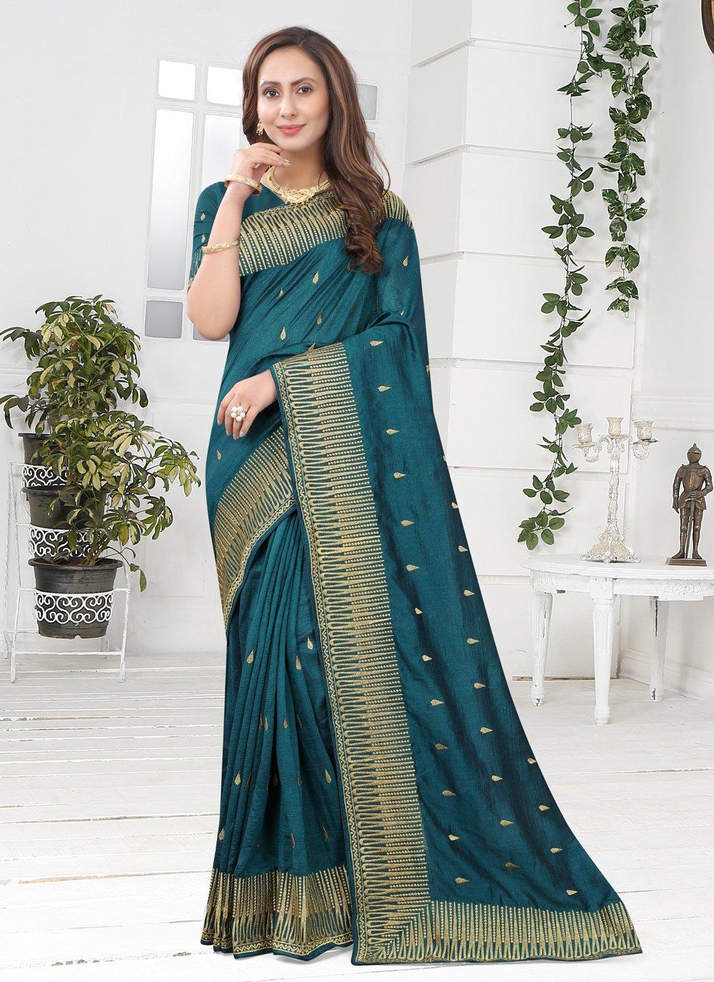 Teal Silk Festival Designer Saree
