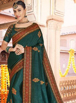 Teal Silk Sangeet Designer Traditional Saree