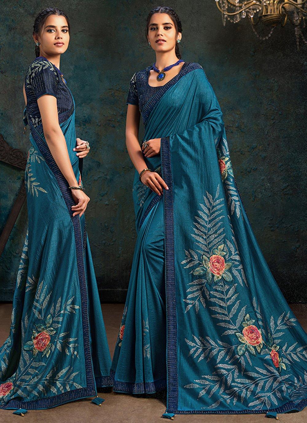 Teal Stone Work Silk Designer Traditional Saree