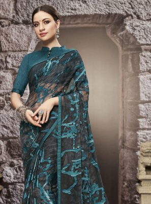 Teal  Tissue Brasso Printed Saree