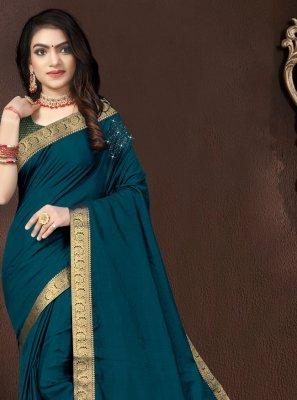 Teal Vichitra Silk Designer Traditional Saree