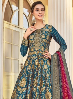 Teal Weaving Jacquard Readymade Anarkali Salwar Suit