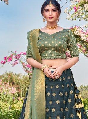 Teal Weaving Silk Bollywood Lehenga Choli