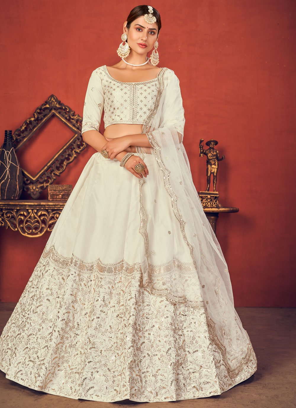 Thread Art Silk Off White Lehenga Choli