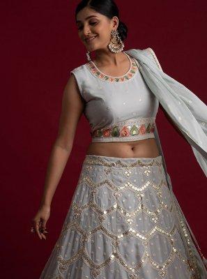 Thread Grey Readymade Lehenga Choli