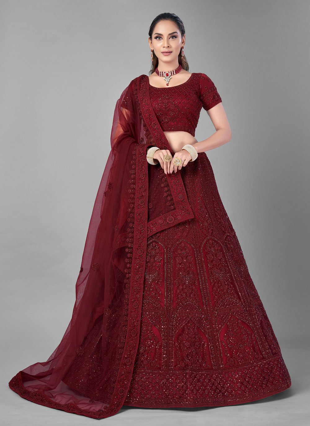 Thread Net Lehenga Choli in Red