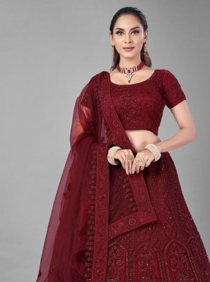 Thread Net Lehenga Choli in Red