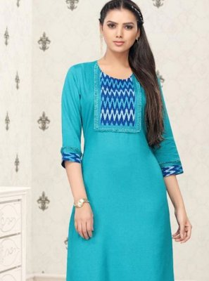 Thread Work Cotton Party Wear Kurti