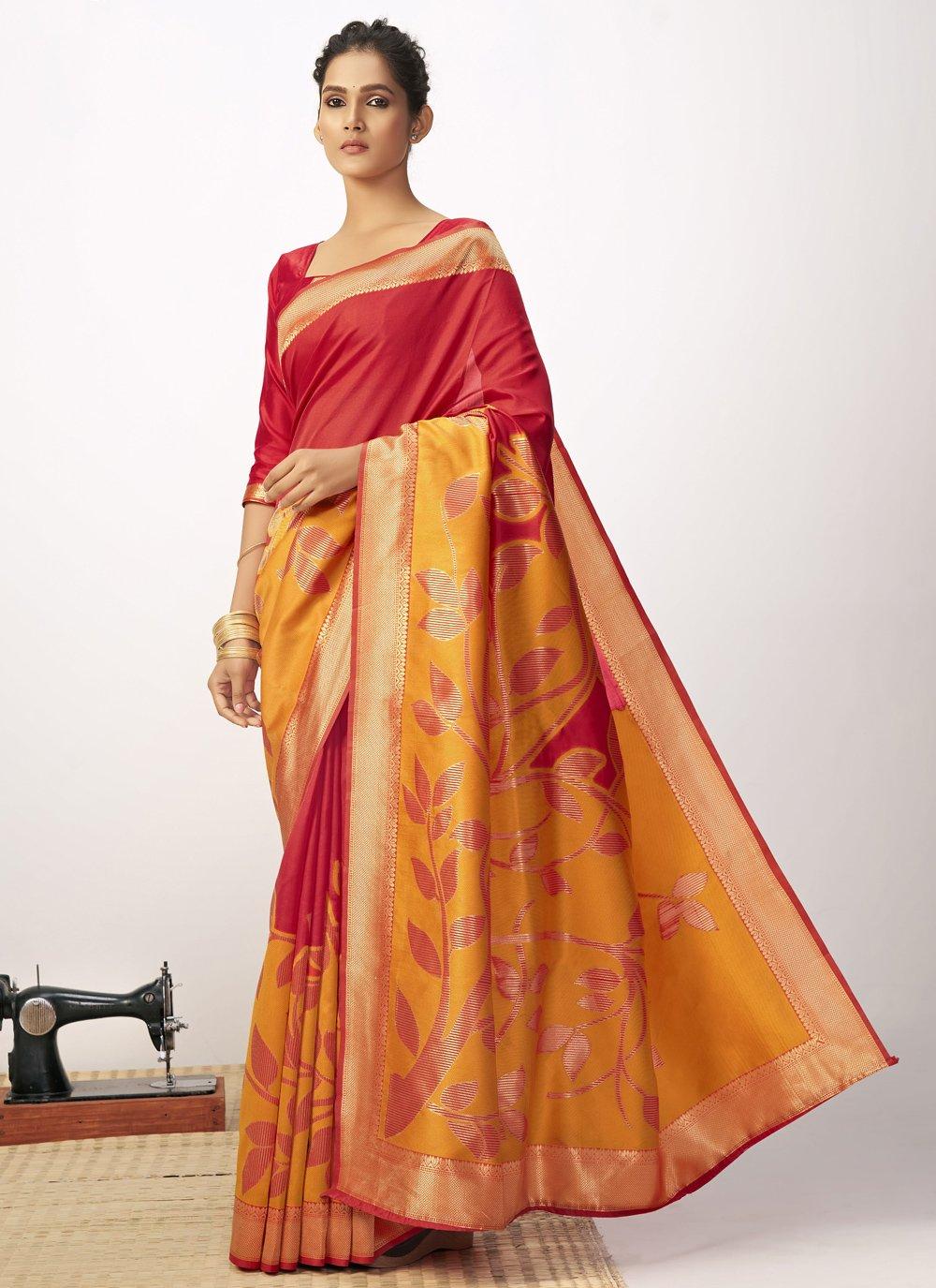Thread Work Cotton Silk Red and Yellow Designer Saree