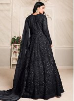 Thread Work Net Floor Length Anarkali Suit in Black