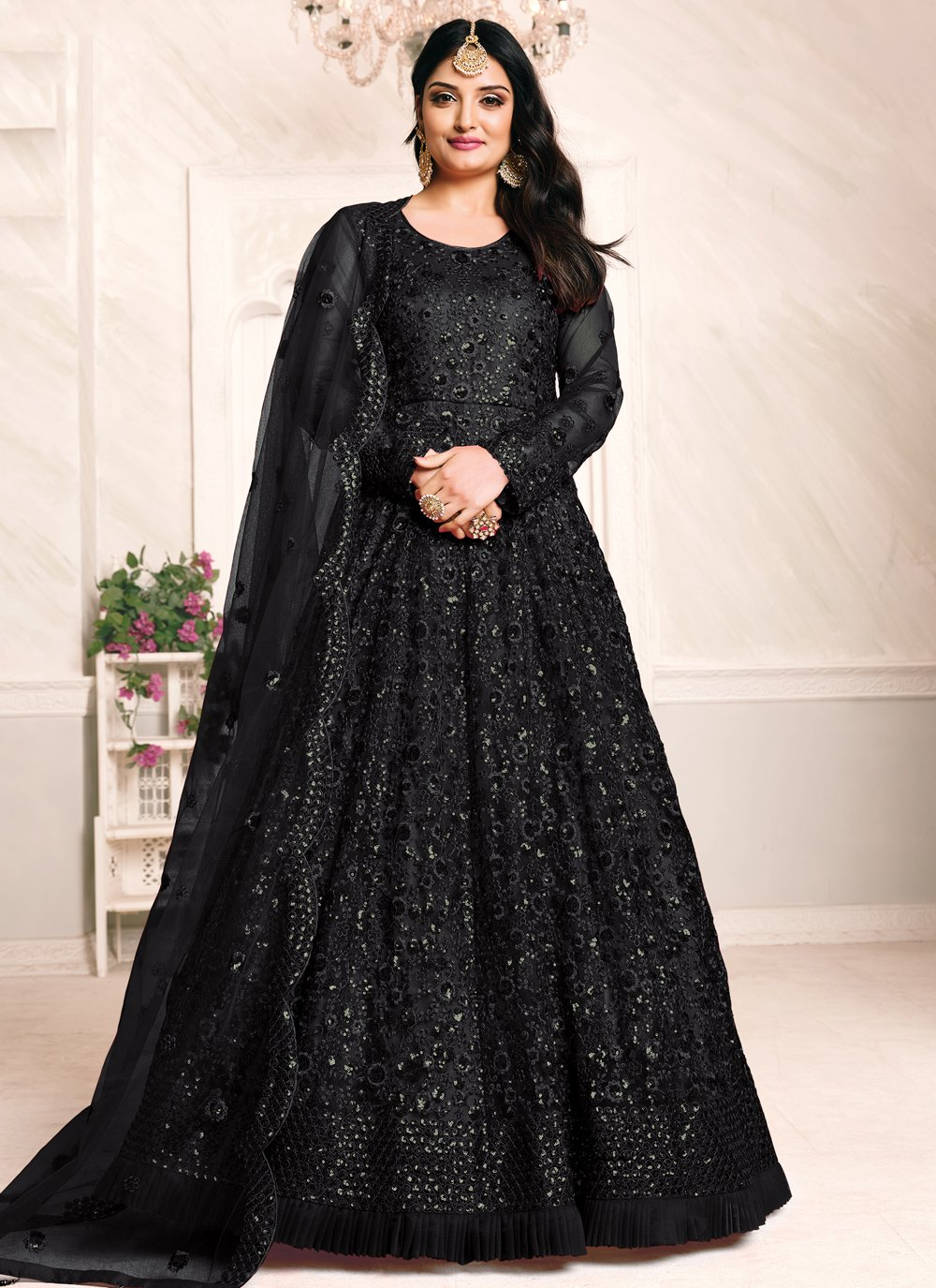 Thread Work Net Floor Length Anarkali Suit in Black