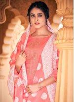 Thread Work Peach Cotton Designer Palazzo Salwar Kameez