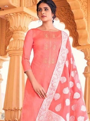 Thread Work Peach Cotton Designer Palazzo Salwar Kameez
