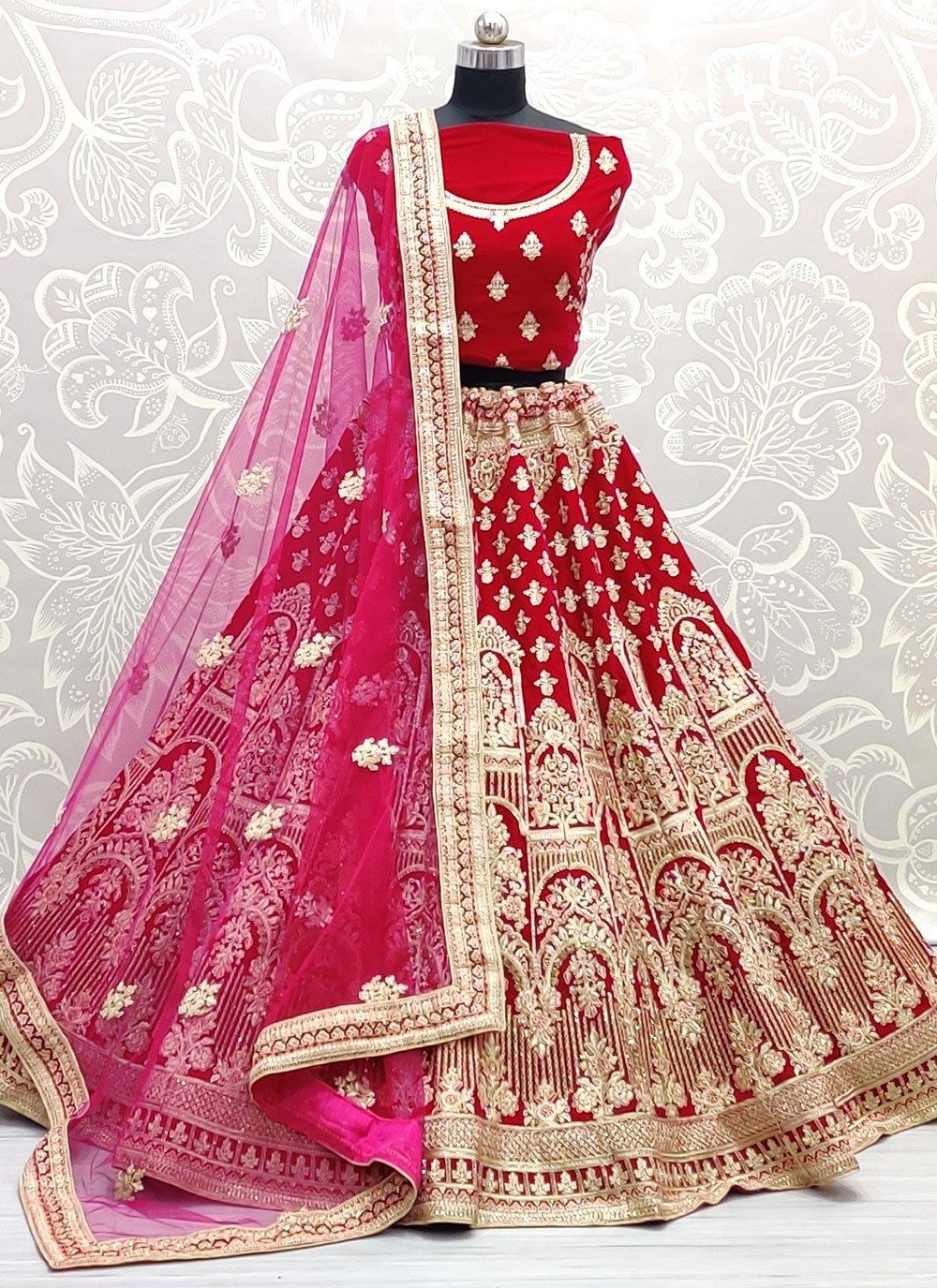Thread Work Pink Lehenga Choli