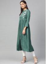 Thread Work Rayon Party Wear Kurti in Green