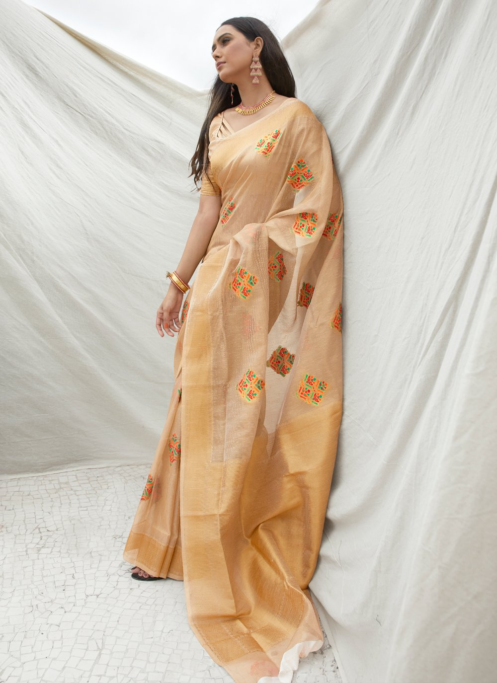 Tissue Beige Weaving Traditional Saree