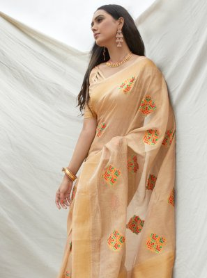Tissue Beige Weaving Traditional Saree