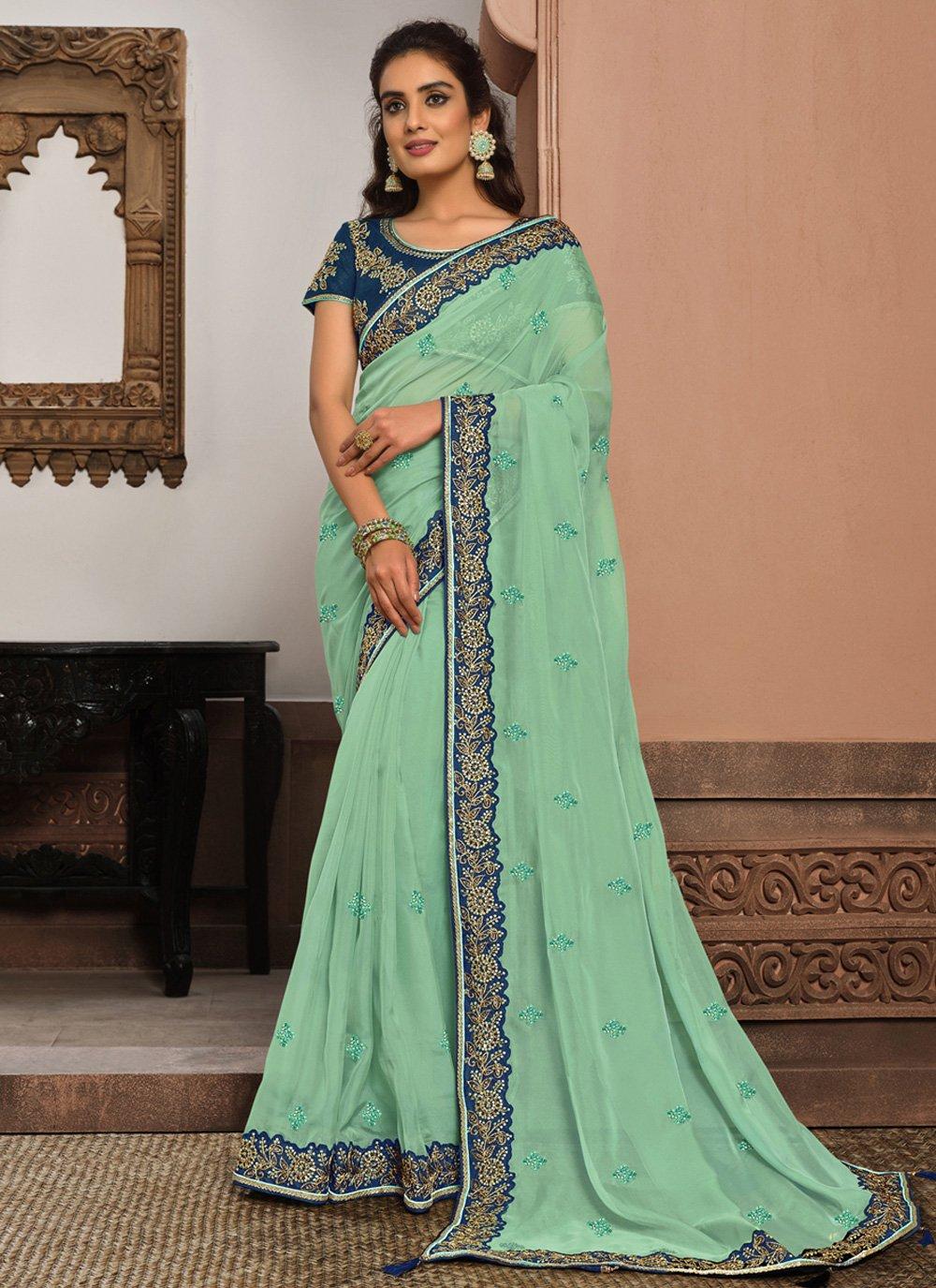 Tissue Blue Designer Traditional Saree
