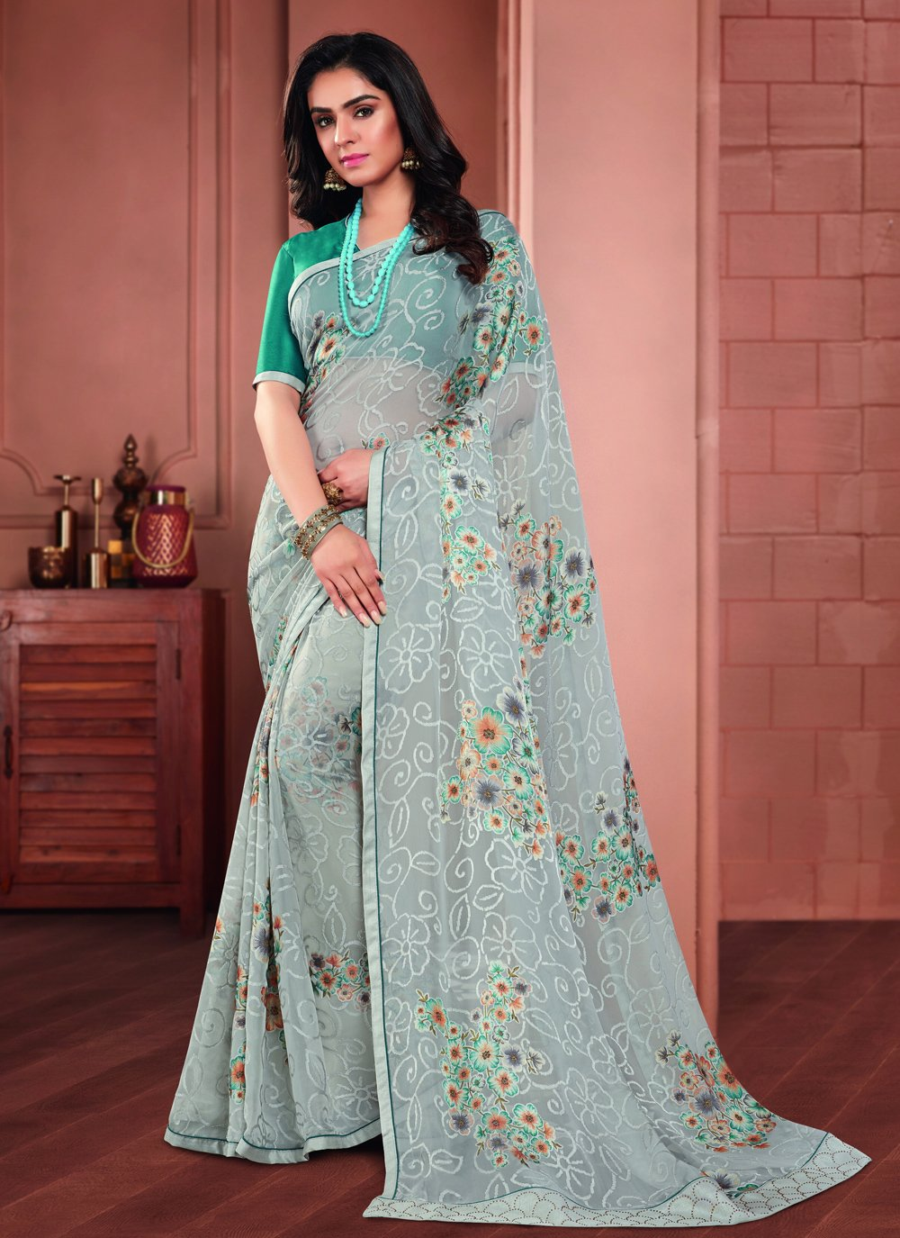 Tissue Printed Saree in Blue