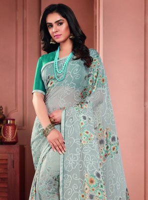 Tissue Printed Saree in Blue