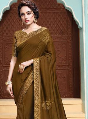 Traditional Designer Saree Embroidered Art Silk in Green