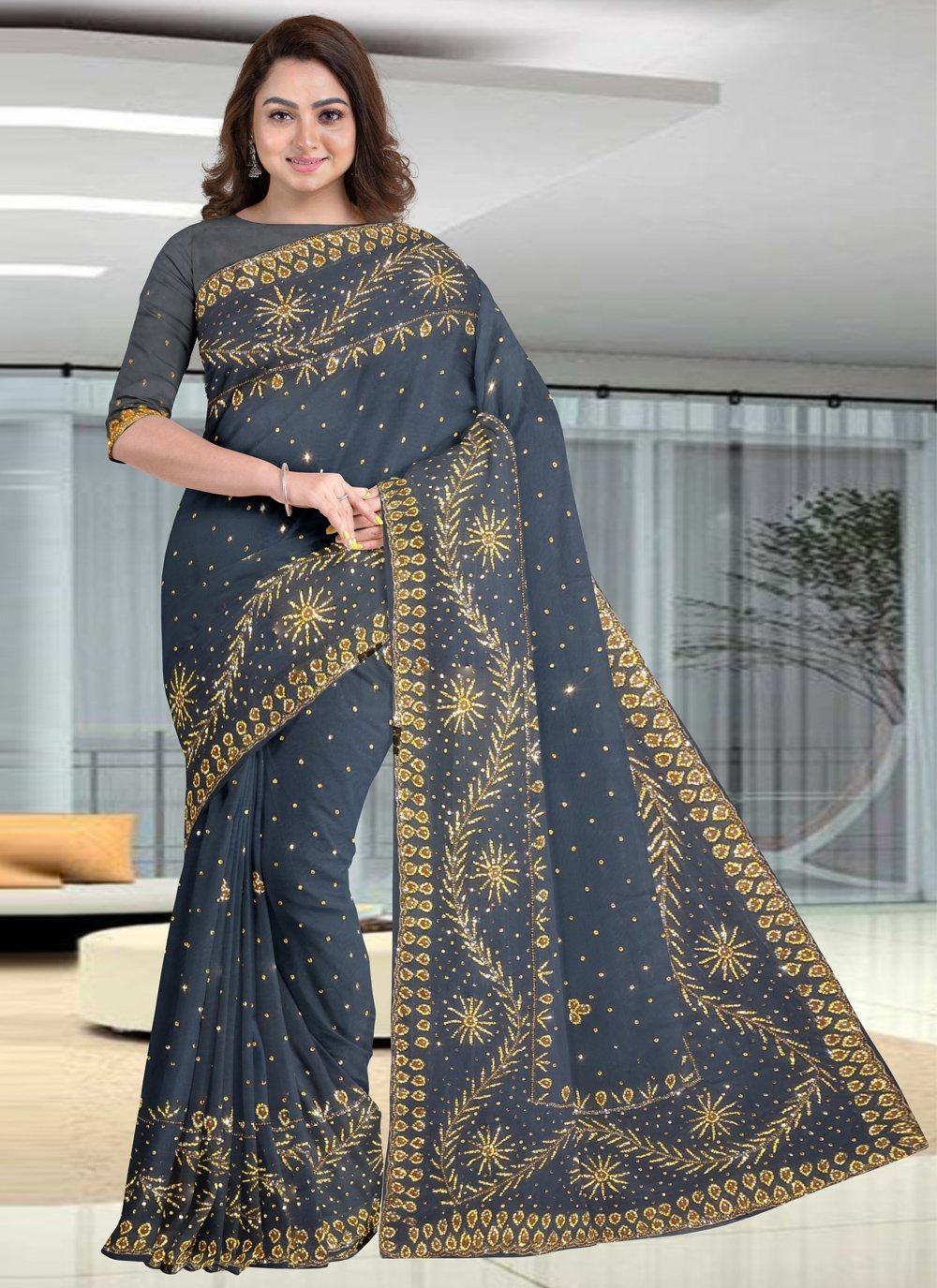 Traditional Designer Saree Embroidered Faux Georgette in Grey