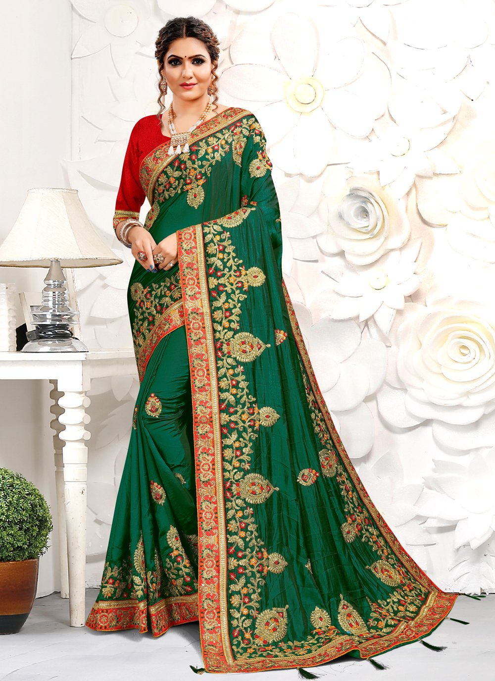 Traditional Designer Saree Embroidered Satin in Green
