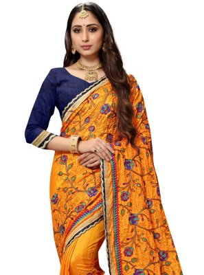 Traditional Designer Saree Embroidered Silk in Mustard
