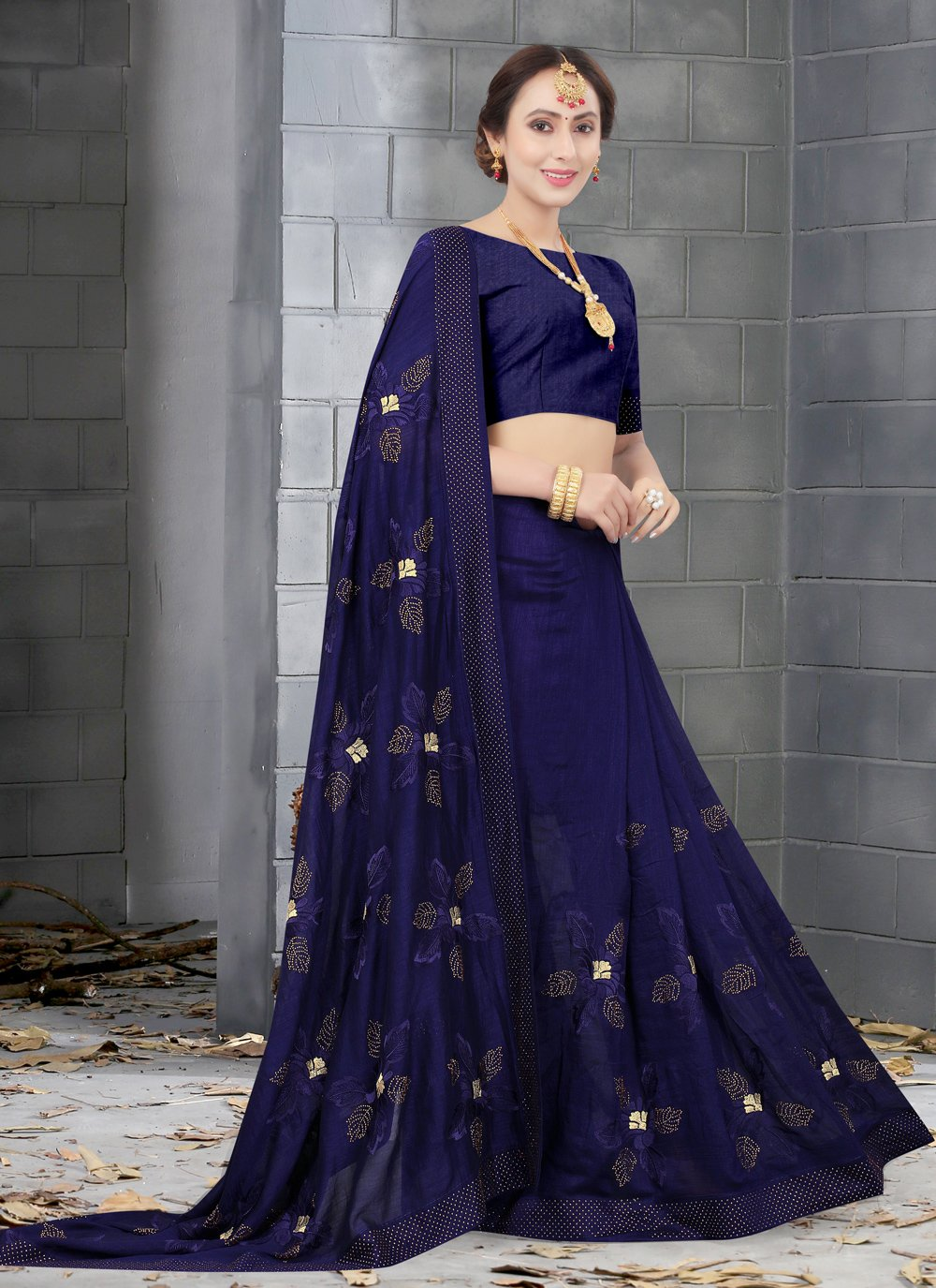 Traditional Designer Saree Embroidered Silk in Navy Blue