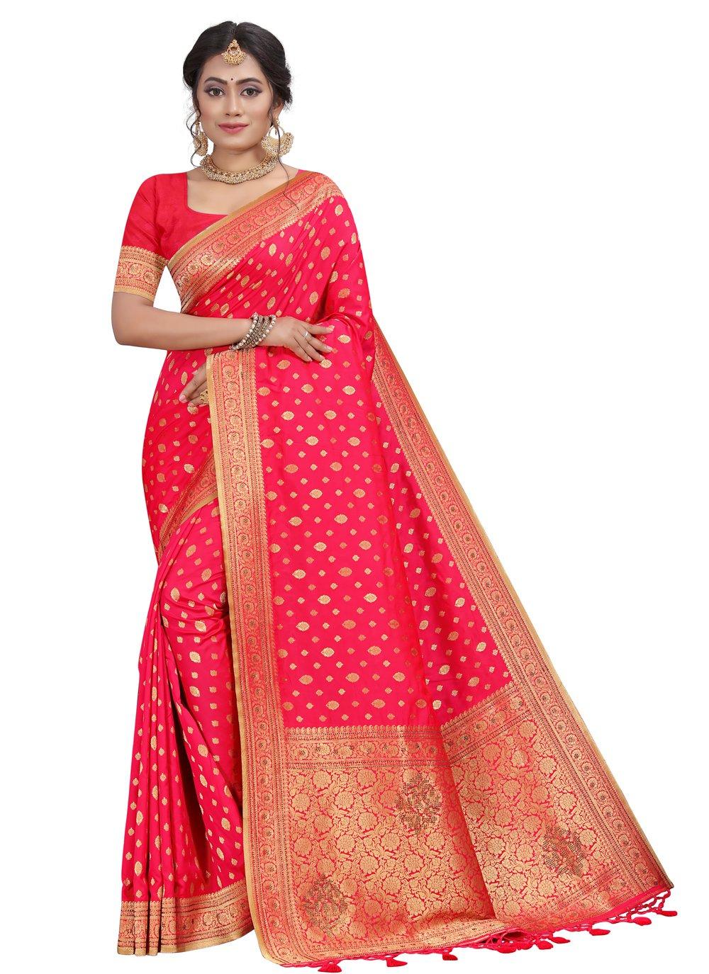 Traditional Designer Saree Fancy Silk in Pink