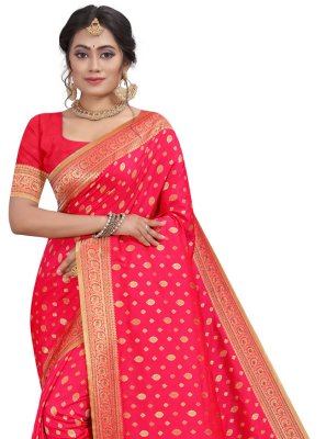 Traditional Designer Saree Fancy Silk in Pink