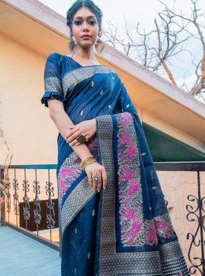 Traditional Designer Saree Fancy Tussar Silk in Blue