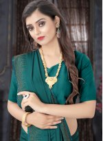 Traditional Designer Saree Stone Satin in Teal