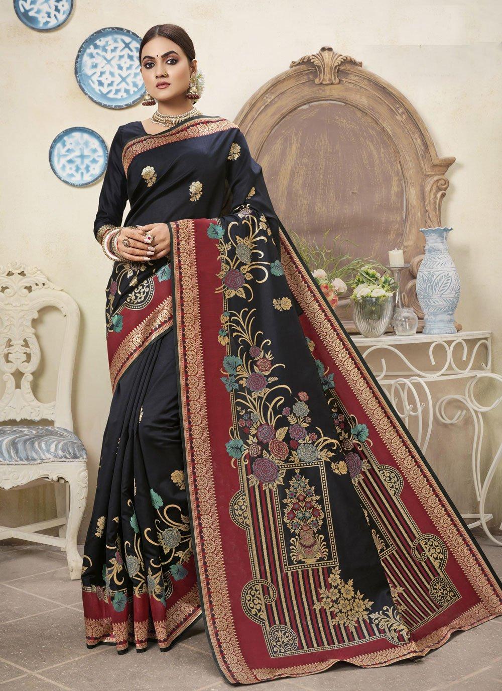 Traditional Designer Saree Weaving Art Silk in Black